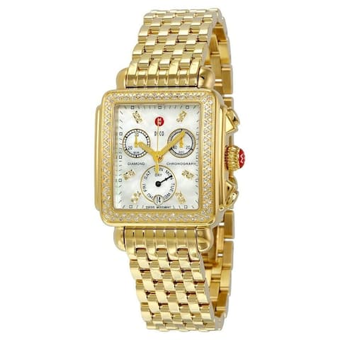 Michele Deco Diamond Dial Gold Watch