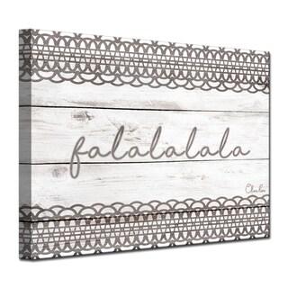 Ready2HangArt 'Christmas Falala' Wrapped Canvas Shabby Chic Textual Wall Art