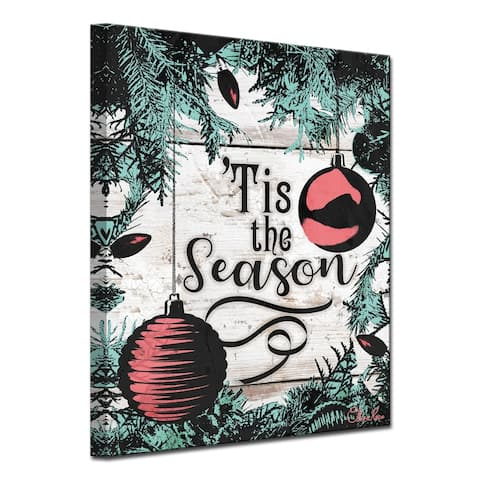 Olivia Rose 'Christmas Tis the Season' Wrapped Canvas Textual Wall Art
