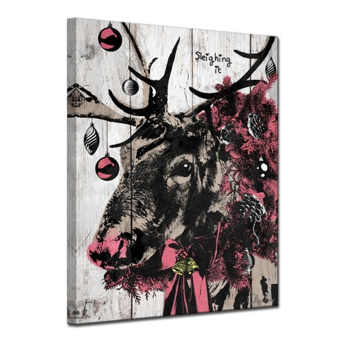 Olivia Rose 'Christmas Reindeer' Wrapped Canvas Textual Wall Art