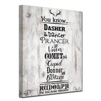 Ready2HangArt 'Christmas Reindeer List' Wrapped Canvas Textual Wall Art