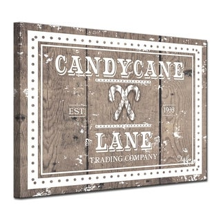Link to Olivia Rose 'Christmas Candycane Lane' Wrapped Canvas Textual Wall Art Similar Items in Christmas Decorations