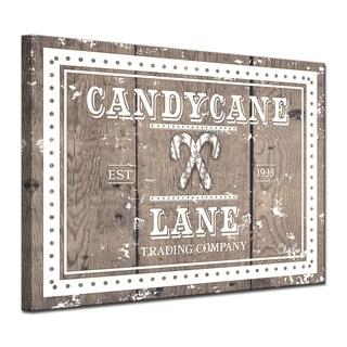 Ready2HangArt 'Christmas Candycane Lane' Wrapped Canvas Textual Wall Art