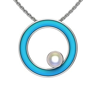 """Solid Sterling Silver Teal Enamel Hoop with White Pearl on the Side 17.5"""" Anchor Chain"""