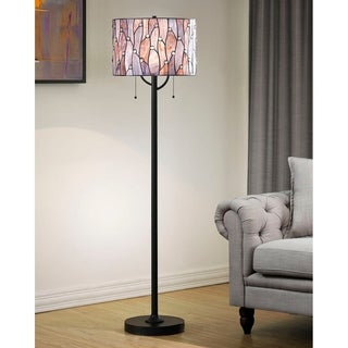 HomeGlam Vines 2-light Blue/Purple Glass 61-inch HIgh Tiffany Floor Lamp