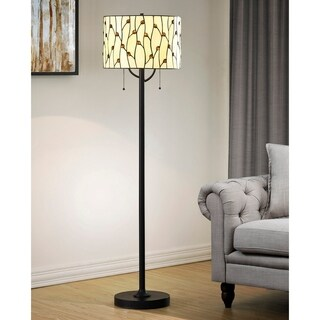 HomeGlam Vines Natural Yellow Glass 61-inch High Tiffany Floor Lamp