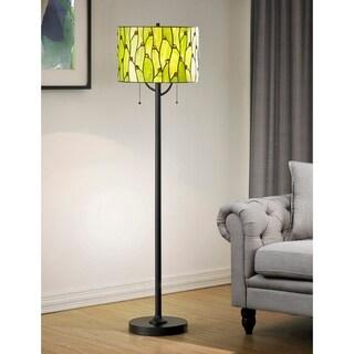 HomeGlam Vines 2-light Green Glass Tiffany 61-inch High Floor Lamp - Green