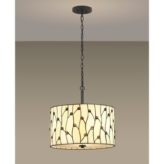 HomeGlam Vines 3-Light Natural Yellow Glass 18-inch Tiffany Pendant