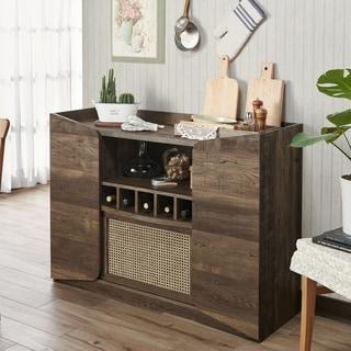 Furniture of America Dald Rustic Oak Adjustable Shelf Wine Rack Server