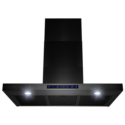 """AKDY 30"""" Wall Mount Brushed Black Stainless Steel Touch Panel Kitchen Range Hood Cooking Fan"""