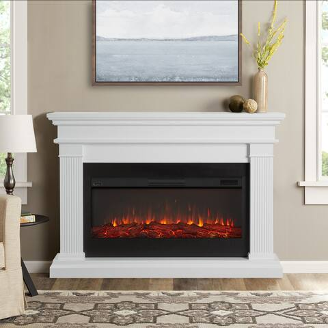 Beau Electric Fireplace in White - 58.5L x 11.375W x 42.125H - 58.5L x 11.375W x 42.125H