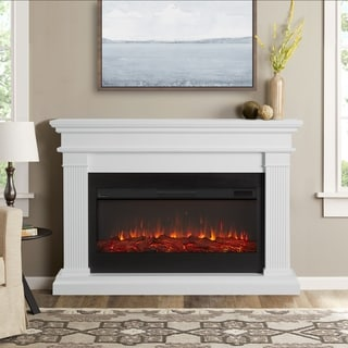 Beau Electric White Fireplace by Real Flame - 58.5L x 11.375W x 42.125H