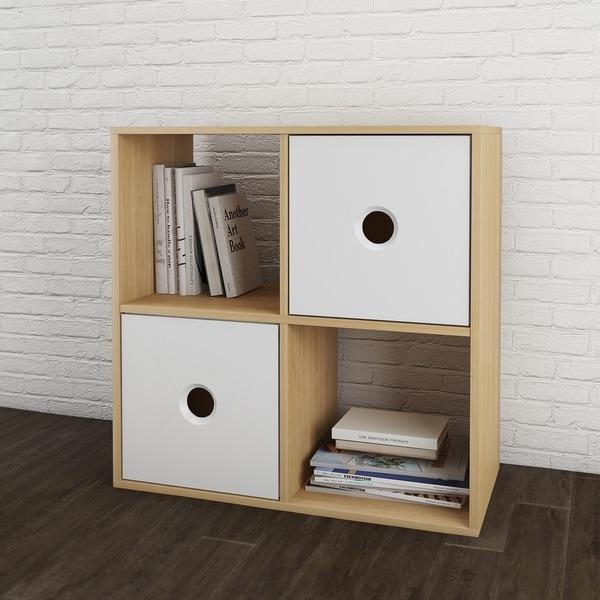 Shop Nexera Domino Natural Maple/White Wood Bookcase