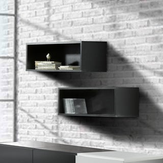Nexera Avenue Black Floating Wall Shelves (Set of 2)