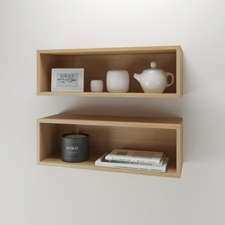 Nexera Trilogy Natural Maple Wall Shelves (Set of 2)