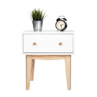 Kinbor Side End Table Mid-Century Wood Nightstand Bedroom Living Room Table Cabinet w/ Storage Drawer