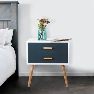 Kinbor Modern Nightstand, Side End Table, 2-Drawer Beside Accent Table for Bedroom Living Room, Table Cabinet