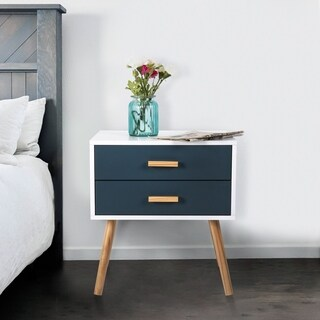 Kinbor Side End Table Nightstand Mid-Century Beside Table Accent Bedroom Living Room Table Cabinet With Storage Drawers