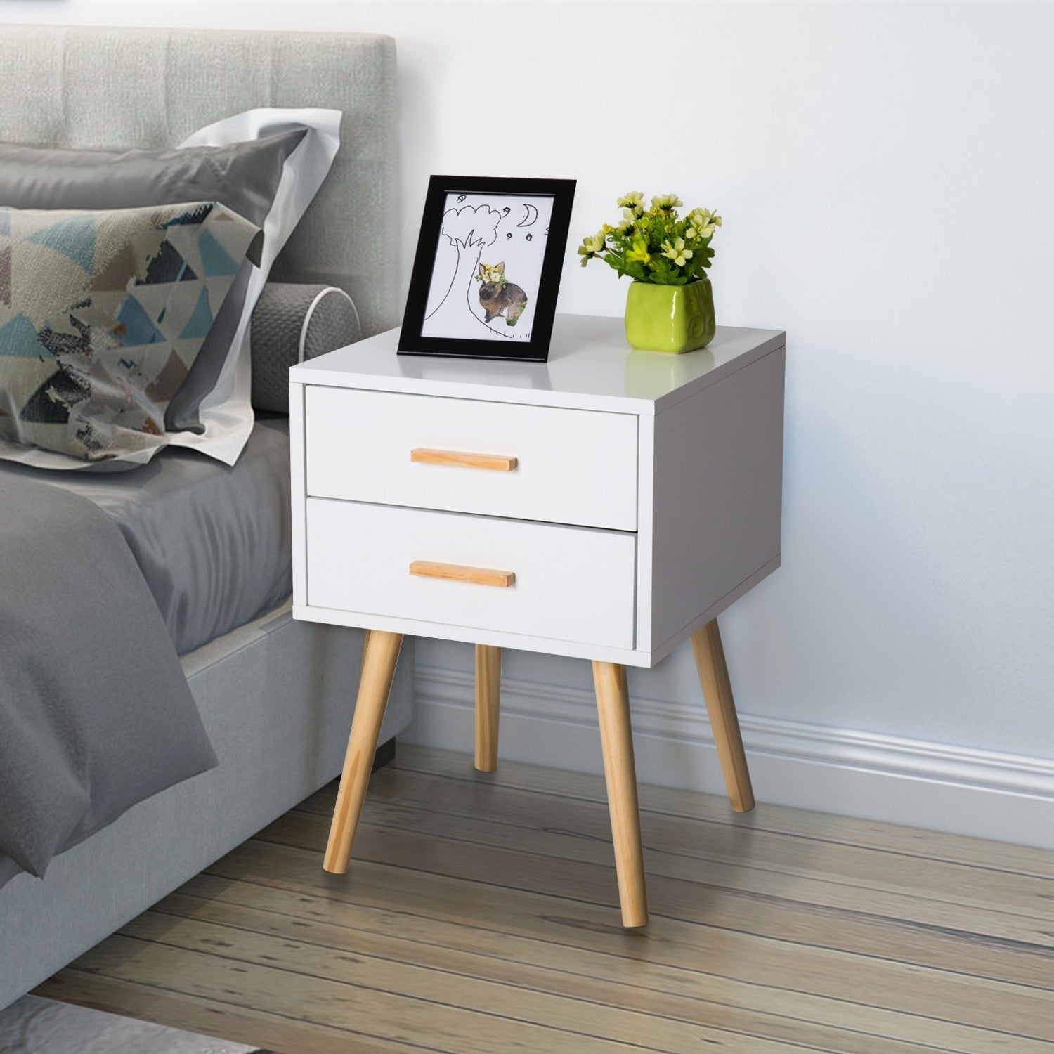 Kinbor Night Stand Side Table Beside End Table Mid-century Accent Furniture  For Bedroom w/ 2 Storage Drawers