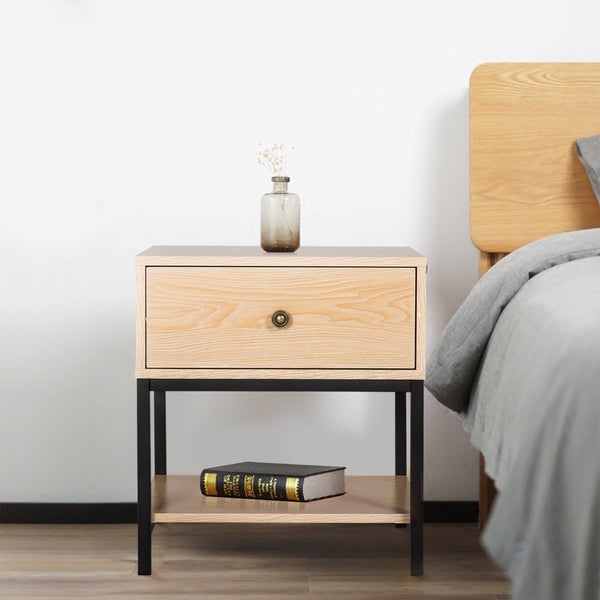 Storage End Tables For Living Room: Shop Kinbor Night Stand Side Table Beside End Table For