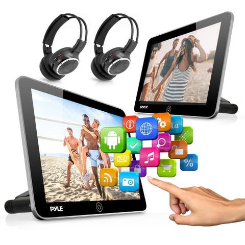 Pyle PLDANDHR1056KT Android Touchscreen Tablet Entertainment Display Bundle - Dual Headrest