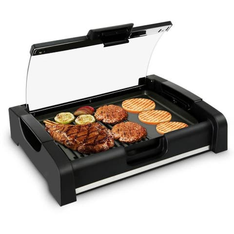 NutriChef PKGRIL45 Electric Griddle Crepe Maker Hot Plate Cooktop with Glass Lid