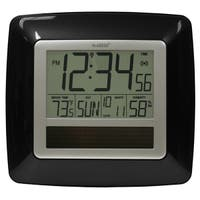 La Crosse Technology WT-8112U-BK Solar Atomic Digital Clock with Temperature & Humidity