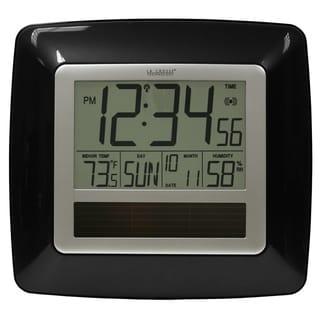 La Crosse Technology WT-8112U-BK Solar Atomic Digital Clock with Temperature & Humidity