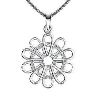 "Solid Sterling Silver Circular Floral Design with Cubic Zirconia in the Middle on a 17.5"" Anchor Chain Necklace"