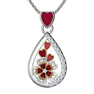 Solid Sterling Silver Pear Shaped Triple Floral Action with Cubic Zirconia Spread Along Pendant Necklace