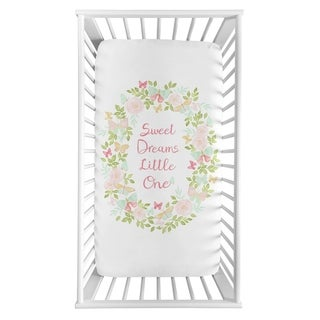 Sweet Jojo Designs Pink Mint Sweet Dreams Watercolor Rose Butterfly Floral Collection Fitted Mini Portable Crib Sheet