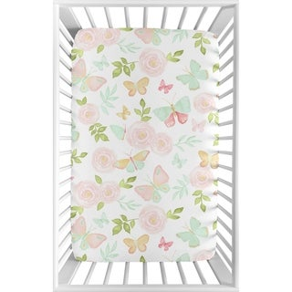 Sweet Jojo Designs Blush Pink, Mint, White Watercolor Rose Butterfly Floral Collection Fitted Mini Portable Crib Sheet