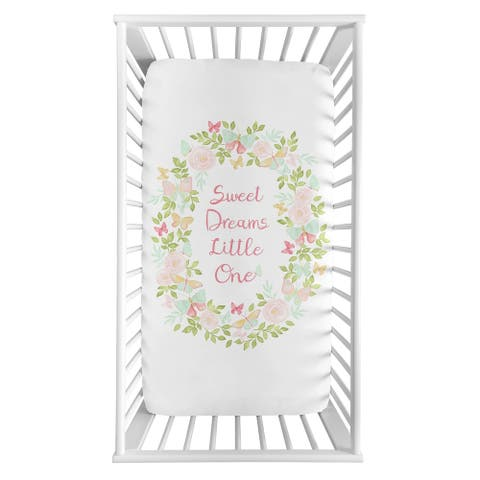 Sweet Jojo Designs Blush Pink, Mint and White Sweet Dreams Watercolor Rose Butterfly Floral Collection Fitted Crib Sheet