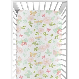Sweet Jojo Designs Blush Pink, Mint and White Watercolor Rose Butterfly Floral Collection Fitted Crib Sheet