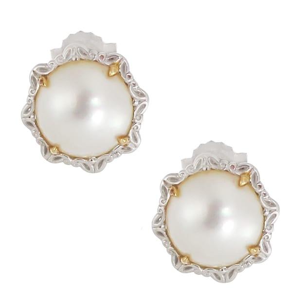 Michael Valitutti Palladium Silver White Mabe Pearl Earrings