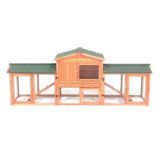 ALEKO Fir Wood Chicken 89 x 24 x 34 Inches Coop Hutch with Chicken Run