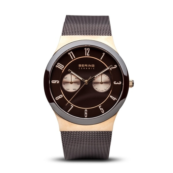 BERING Ceramic Slim Watch With Sapphire Crystal & Brown Stainless Steel Strap