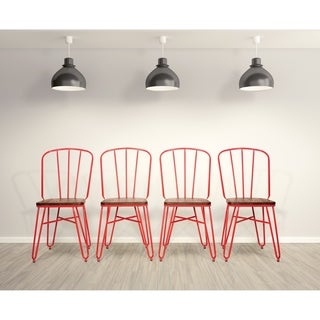 OSP Designs Charleston Chair with wood seat (set of 4)