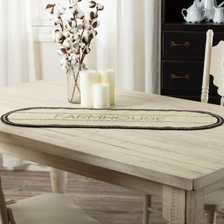 VHC Sawyer Mill Farmhouse Tabletop & Kitchen Stenciled Oval Jute Runner
