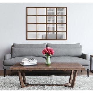 Kate and Laurel Hogan 16 Windowpane Wood Wall Mirror - Walnut Finish - 36x44