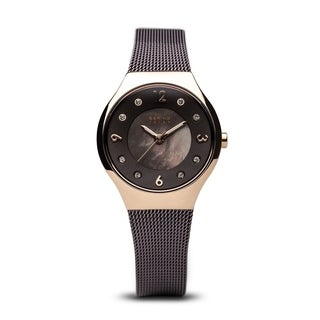 BERING Solar Slim Watch With Sapphire Crystal & Brown Stainless Steel Strap