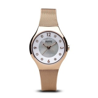 BERING Solar Slim Watch With Sapphire Crystal & Rose-Tone Stainless Steel Strap