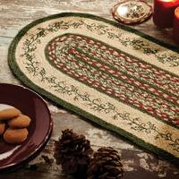 VHC Holly Berry Creme White Holiday Rustic & Lodge Tabletop & Kitchen Stenciled Oval Jute Runner