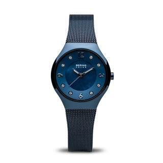 BERING Solar Slim Watch With Sapphire Crystal & Blue Stainless Steel Strap