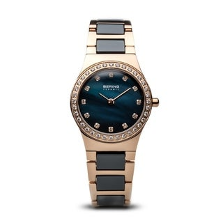 BERING Ceramic Slim Watch With Sapphire Crystal & Rose-Tone Stainless Steel Strap