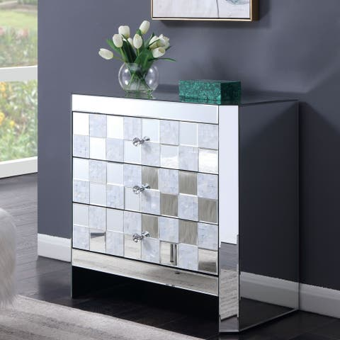 Silver Orchid Gregor Checkered 3-drawer End Table