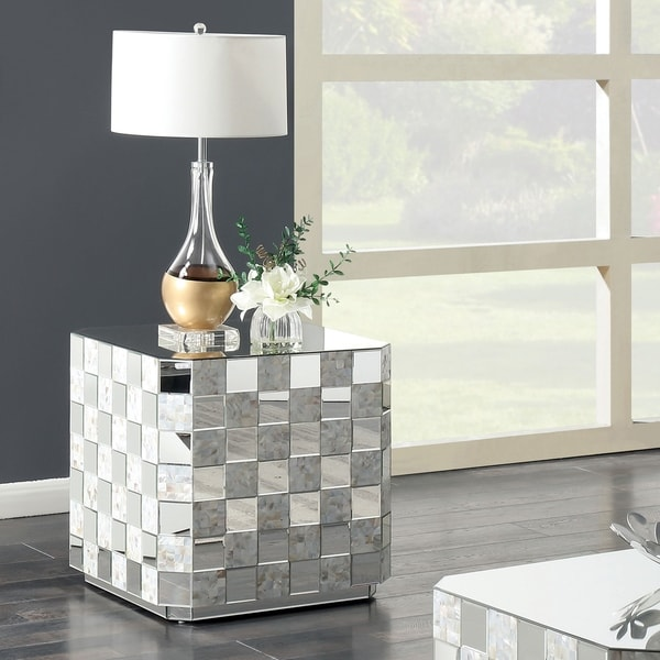 Silver Orchid Gruning Pearl Mirrored End Table