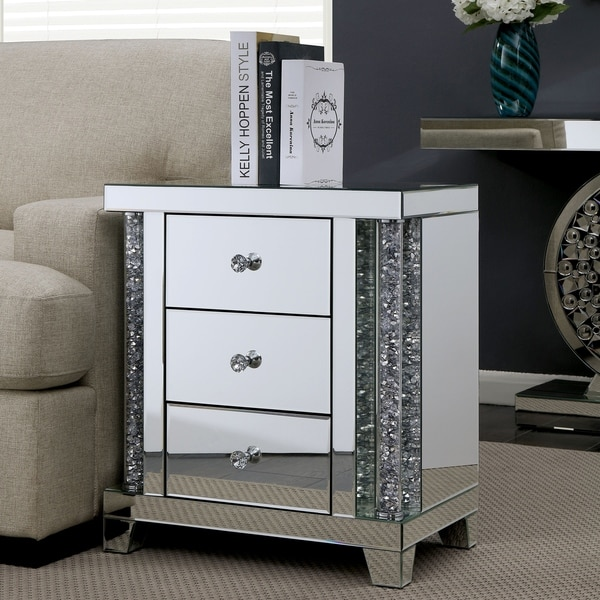 Furniture Of America Aarika Small 3 Drawer Mirrored Side Table