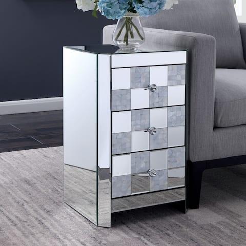 Silver Orchid Gregor Mirror Side Table