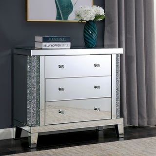 Silver Orchid Earle Large 3-drawer Mirrored Side Table